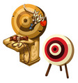 ancient wooden darts and clay jug isolated vector image