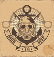 Born to Dive Skull in dive mask on grunge vector image