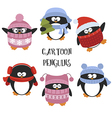 Set of cartoon penguins vector image