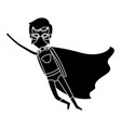 silhouette black full body superhero man flying vector image