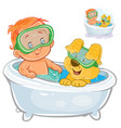 small child in a swimming circle and a vector image