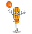 with basketball screwdriver character cartoon vector image