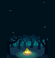 forest campfire poster vector image vector image