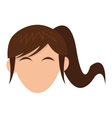 woman head with hair icon vector image