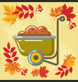 autumn agricultural icons with autumn leaves 6 vector image