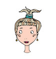 cute blonde girl head with ponytail young female vector image