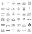 downtown icons set outline style vector image