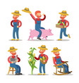 happy farmer cartoon with basket of vegetables vector image