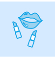 Lips and Lipstick Icon Simple Blue vector image