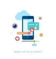 Mobile app development for smartphone and ad flat vector image