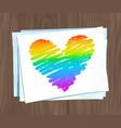 rainbow colored heart on paper sheets vector image