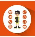 sportsman roller skating apps icons vector image