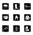 Winter icons set grunge style vector image