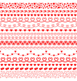 set of brushes with hearts to create frames vector image