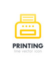 printer icon on white line style vector image vector image