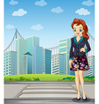 A tall woman standing near the pedestrian lane vector image vector image