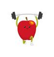 flat apple character powerlifting sportsman vector image