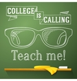 Nerd glasses on the chalkboard with college is vector image