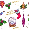 Christmas Sketch Seamless Pattern vector image