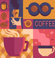 coffee poster template in flat retro style vector image