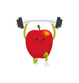 flat apple character powerlifting sportsman vector image
