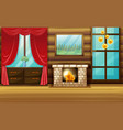 room with fireplace and red curtain vector image