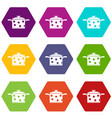 saucepan with white dots icon set color hexahedron vector image