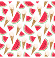 seamless pattern with ice cream and watermelon vector image