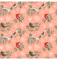 Winter seamless pattern with cute doodle birds vector image vector image