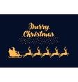 Merry Christmas greeting card Santa Claus rides vector image