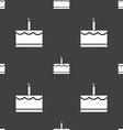 Birthday cake icon sign Seamless pattern on a gray vector image