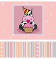 Cow with a cupcake vector image vector image