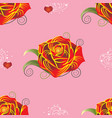 Pattern red rose with hearts on pink background vector image