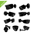 cctv camera silhouettes vector image