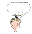 cartoon cute pretty young girl head with thinking vector image