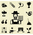Farmer surrounded by farming themed icons vector image