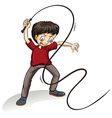 Angry man holding a rope vector image