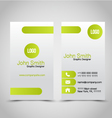 Vertical Business card set template Green and vector image