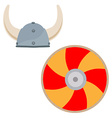 Viking hat and shield vector image