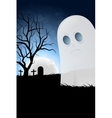 Halloween Background with Ghost and Graveyard vector image vector image