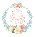 Wedding round floral frame with flowers vector image vector image