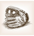 Baseball glove hand drawn sketch style vector image