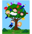 Cartoon children playing in an apple vector image