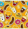 cartoon fast food cute character seamless faces vector image
