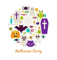 Halloween Party Objects over White vector image