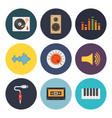 nine universal flat music icons vector image