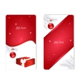 Set of two vertical white Christmas gift card with vector image