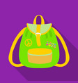 green hippy backpackhippy single icon in flat vector image