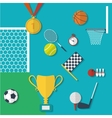 Concept of sports equipment in flat style design vector image