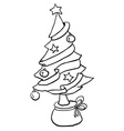 simple black and white christmas tree vector image